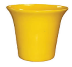 A yellow shiny clay pot