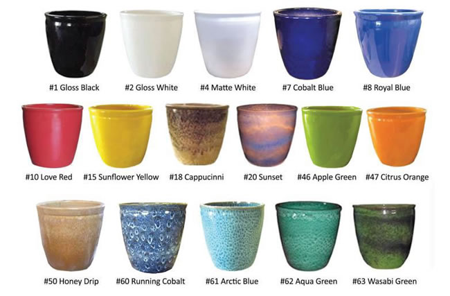 A large selection of clay and terrazo pots of various colors