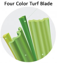 Four color turf blades: Field green, emerald, lime green and beige