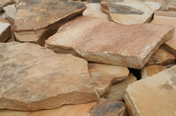 The look of natural stone pavers, no straight lines and varying colors
