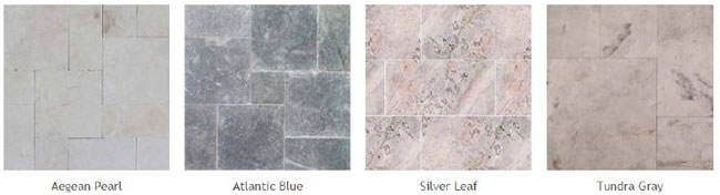 Pictures of different types of quartzite, marble and limestone pavers: Aegean Pearl Atlantic Blue, Silver Leaf, Tundra Gray.