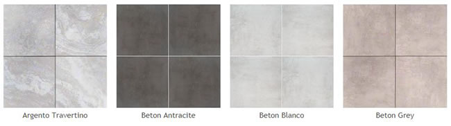Pictures of some different types of the new porcelain pavers: Argento Travertino, Beton Antracite, Beton Blanco, Beton Grey