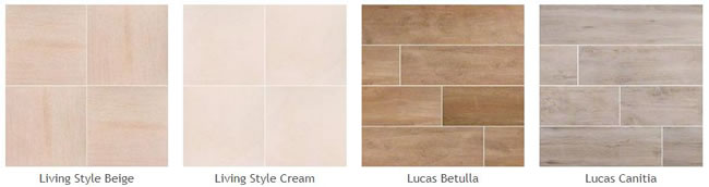 Pictures of some different types of the new porcelain pavers: Living Style Beige, Living Style Cream, Lucas Betulla, Lucas Canitia.