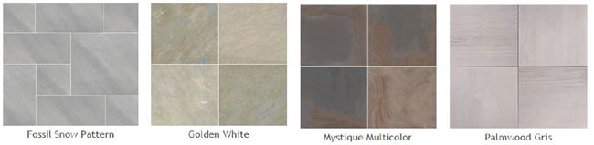 Pictures of some different types of the new porcelain pavers: Fossil Snow Pattern, Golden White, Mystique Multicolor, Palmwood Gris.
