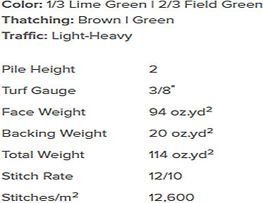 Turf detailed specifications