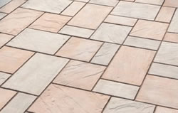 One of many stone pavers designs. Incorporates different sized rectangles fit together like a puzzle.