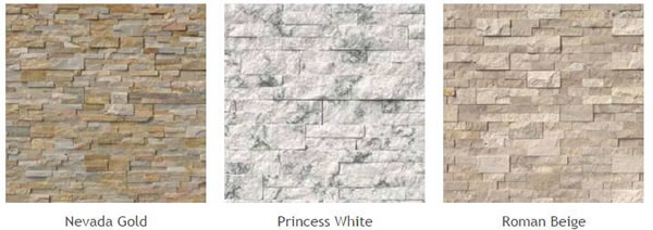 Natural Stone Veneer Panels of different types: Nevada Gold, Princess White, Roman Beige.