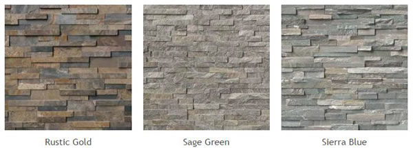 Natural Stone Veneer Panels of different types: Rustic Gold, Sage Green, Sierra Blue.