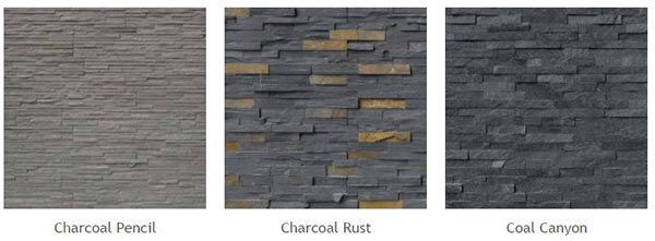 Natural Stone Veneer Panels of different types: Charcoal Pencil, Charcoal Rust, Coal Canyon.