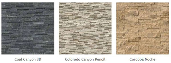 Natural Stone Veneer Panels of different types: Coal Canyon 3D, Colorado Canyon Pencil, Cordoba Noche.